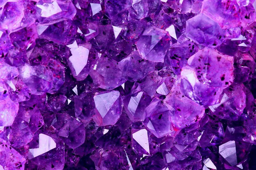 Microscopic magnification of natural amethyst