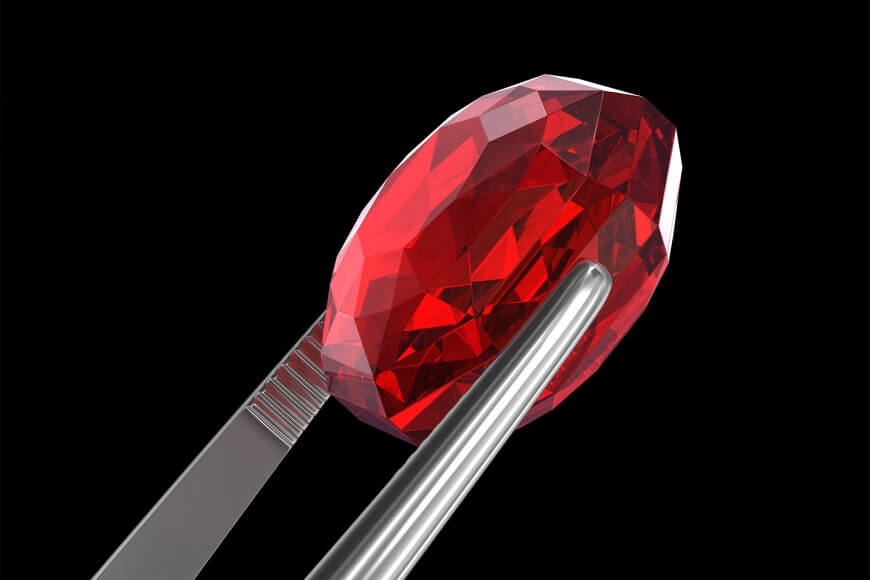 Microscopic magnification of a ruby