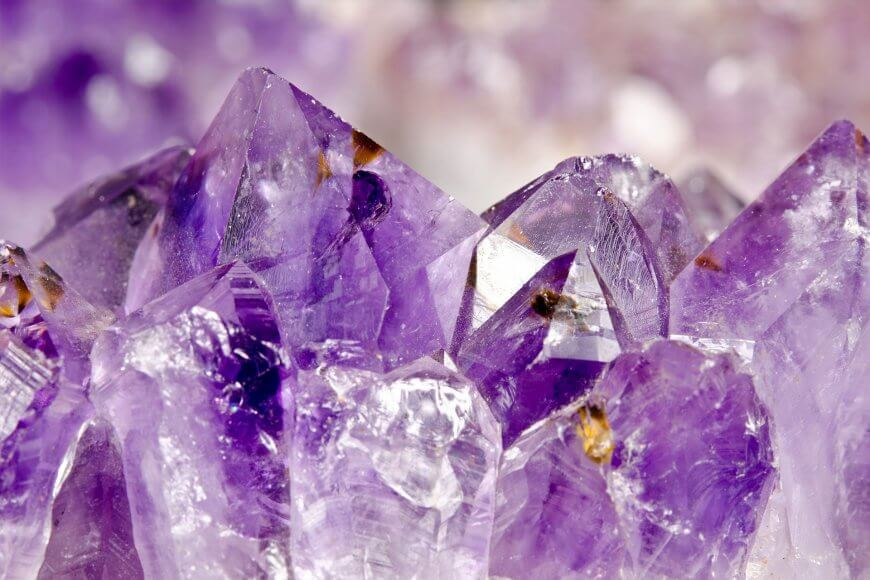 Microscopic magnification of an amethyst crystal landscape