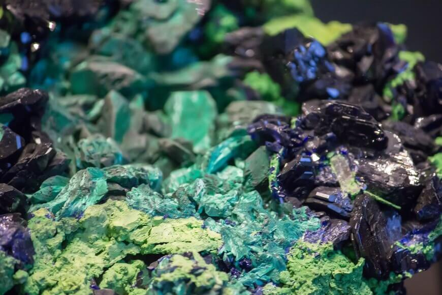 Microscopic magnification azurite-malachite
